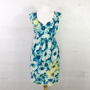 Floreat Anthropologie Cotton Blue Floral Dress 10